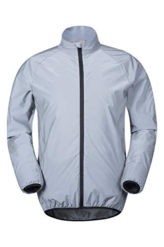 Mountain Warehouse 360 Reflective Mens Cycling Jacket - High Vis for Running Silver Small
