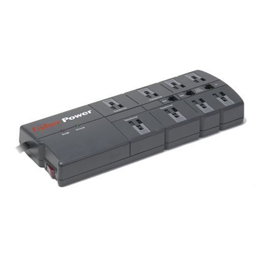 Cyberpower 850 8-Outlet Surge Suppressor - 2400 Joules 15A RJ11 EMI/RFI