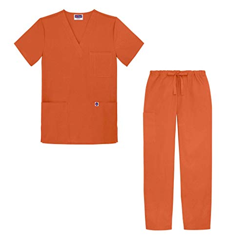 Sivvan Unisex Classic Scrub Set V-neck Top/Drawstring Pants - S8400 - Mandarin Orange - 4X