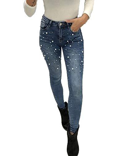 De Skinny Mujer Pantalones Elásticos Jeans Claro Yiqi Azul Leggings Push Up Mezclilla 5qgFw44na