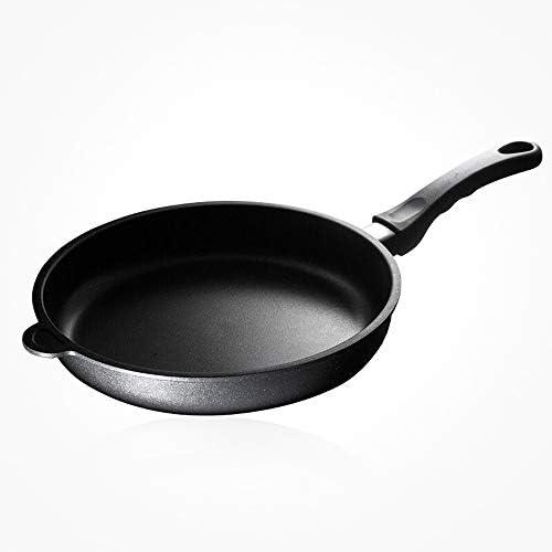 中華鍋 蓋付きのノンスティックフライパン一般健康少ないオイルステーキポットパン (Color : Black, Size : 28cm)