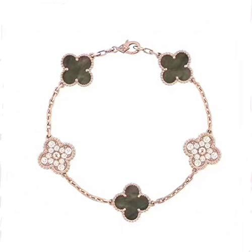 (Women Red Black Onyx Malachite 18K Gold Plated Four-leaf Clover Diamond Flower Bracelet/Classic Fashion 925 Sterling Silver Leaf Van Cleef Clover Pendant Bracelets)