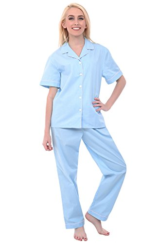 Alexander Del Rossa Woven Cotton Solid and Novelty Short Sleeved Pajama Set, 100% Cotton Pjs