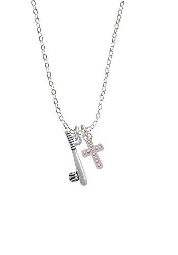 Silvertone Bat and Ball - Silvertone Crystal AB Cross Sophia Necklace, 18