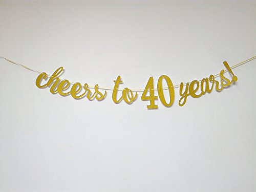 Cheers to 40 Years Banner - Happy 40th Birthday Party Decorations - 40th Wedding Anniversary Decorations - NO ASSEMBLY (40th Birthday Party Banners)