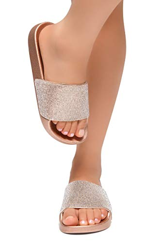 Herstyle Cosmic Womens Fashion Rhinestone Glitter Slide Slip On Mules Summer Shoe Platform Footbed Sandal Slippers Rose Gold 8 ()