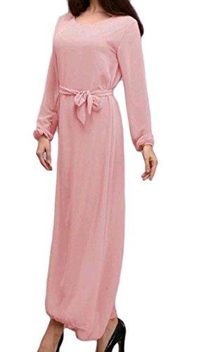 Confortables Femmes Moyen-orient Ceinturée Robe Musulmane Robe À Manches Longues Solide Pattern2