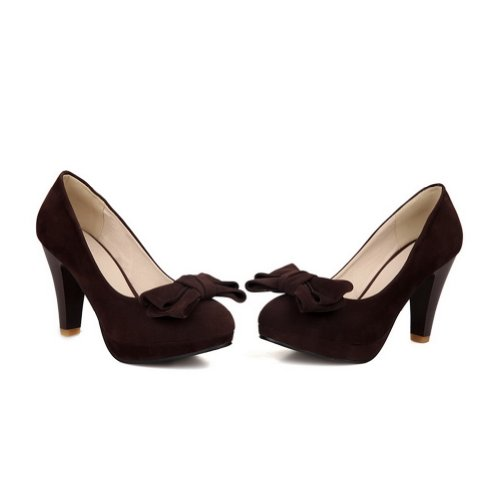 Round High Heels WeiPoot Pumps Chunky Women's Closed Bow Toe Brown Frosted Platform p4ZcSAqT
