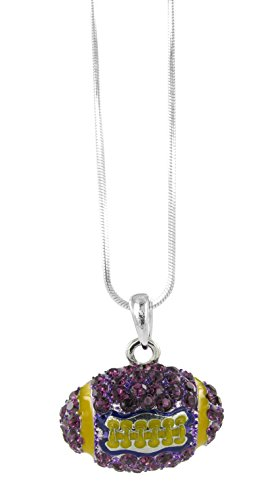 Dome Football Rhinestone Pendant Necklace - Purple Crystal and Gold Enamel