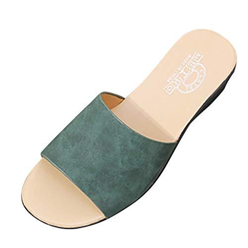 (FAPIZI Womens Retro Peep Toe Sandals Summer Fashion Wedges Slippers Casual Shoes Slipper Indoor & Outdoor Flip-Flops Green)