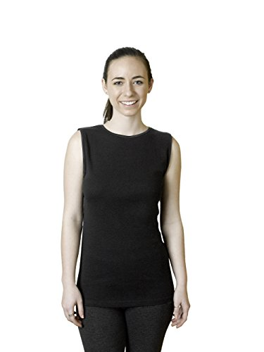 Top Neckline Sleeveless (Rosette Sleeveless Undershirt | 100% Cotton | Smooth | Seamless | (Large, Black))
