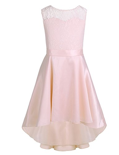 Freebily Little Big Girls Lace High-Low Hem Flower Princess Wedding Bridesmaid Birthday Party Dress