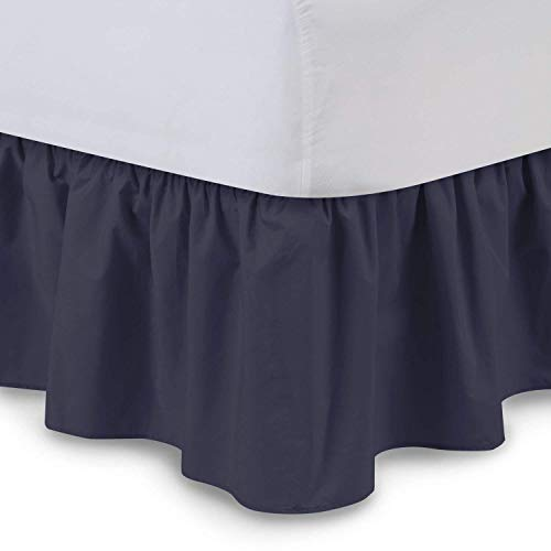 Ruffled Bedskirts - Cotton Bedskirt (Queen, Navy Blue) 21 Inch Bed Skirt with Platform, Wrinkle and Fade Resistant