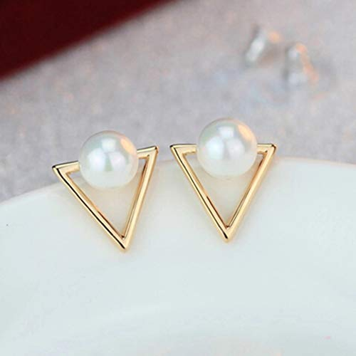 Pearl Nickel Metal Brilliance - HUGJOU Hot Trendy Nickel Free Earrings Fashion Jewelry Pearl Earrings For Women Cute Triangle Stud Earrings