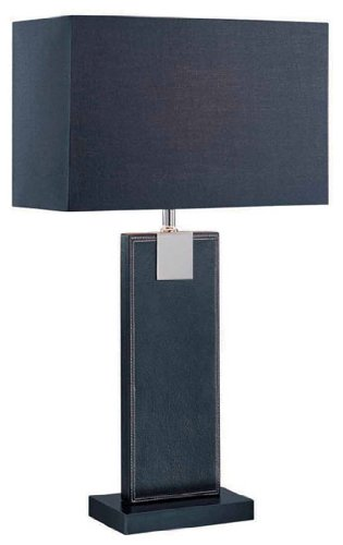 Lite Source LS-21282BLK/BLK Remigio 24-1/2-Inch 60-watt Leather Table Lamp with Fabric Shade, Black (Lamp Table Leather Rectangular)
