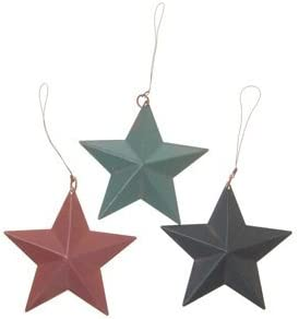 Set of 3 Rustic Colored Tin Barn Star Folk Decoration or Christmas Ornaments