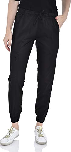 (Marilyn Monroe Stretch Jogger Scrubs Pants with Zipper Side Pocket, Available in 13 Colors from XS-2X Black)