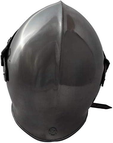 Hind Handicrafts Middeleeuwse Renaissance Barbuta Helm Armour Volwassene - Knight Templar Warrior Accessoires - Getailleerde Liner - LARP, Halloween & Role Play (Chrome)