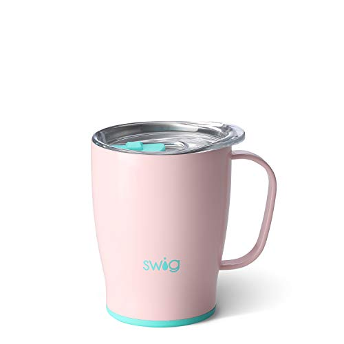 Swig Life Stainless Steel Signature 18oz Travel Mug with Spill Resistant Slider Lid in Blush