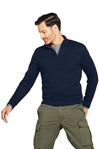 Lands' End Men's Bedford Rib Quarter Zip Sweater, L, Classic Navy Solid