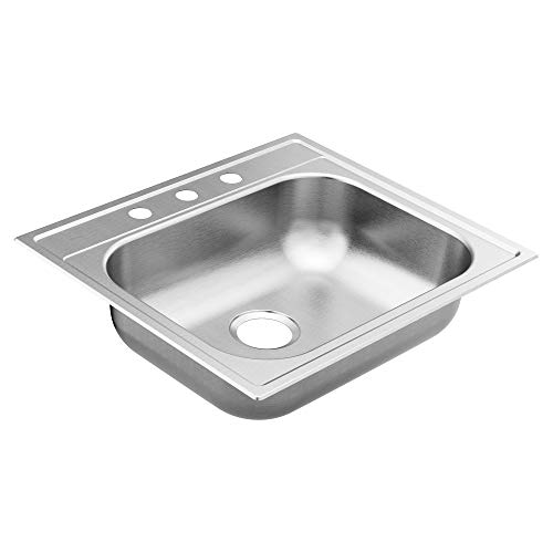 Moen GS221983B 2200 Series 25-inch 22 Gauge Drop-in Single Bowl Stainless Steel Kitchen Sink, 3 Hole, Rear Drain