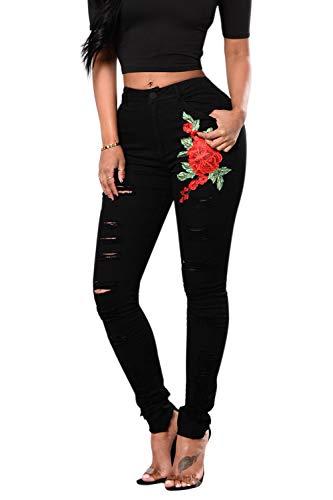Skinny Jeans pour Femmes Brod Rose Extensible Denim Pantalon Noir