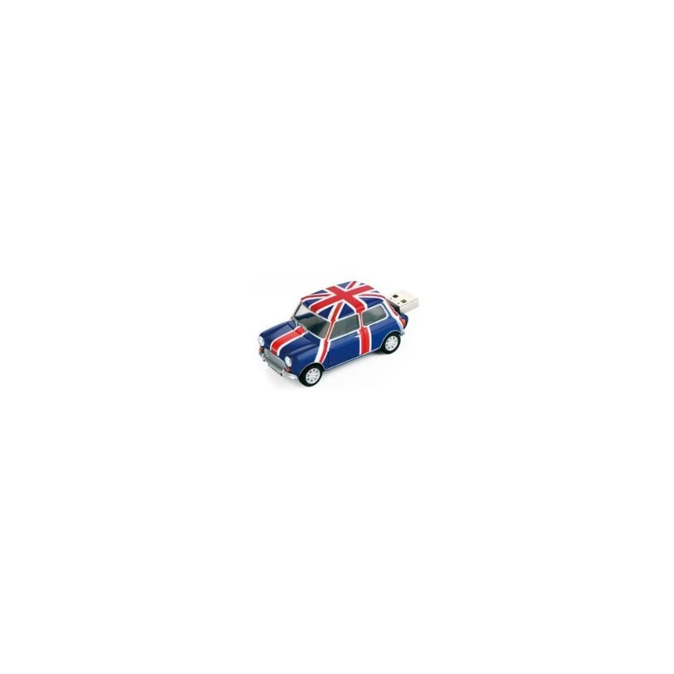 Mini Cooper Blue British Pavilion USB Flash Drive   Data Storage Device   4GB   Key Ring Included