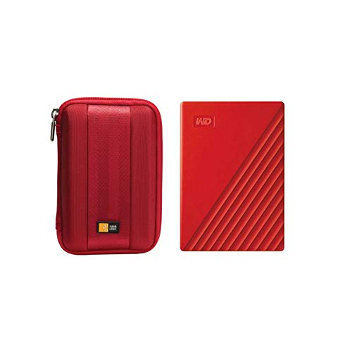 WD 2TB My Passport USB 3.2 Gen 1 Slim Portable External Hard Drive (2019, Red) + Compact Hard Drive Case (Red) (2TB, Red)