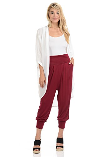 (iconic luxe Women's Banded Waist Harem Jogger Pants with Pockets Large Burgundy)