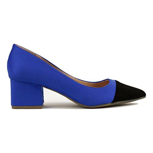 Buonarotti Zapato de Antelina Bicolor. Tacón DE 5 Centímetros. Azul