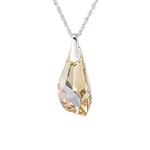 Atik Jewelry Silver Polygon Necklace with Swarovski Crystal - Golden - Polygon Crystal Swarovski