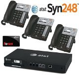 AT&T SB35025 Syn248 Corded Deskset Phone System Set of 3 PLUS AT&T SB35010 Syn248 Analog Gateway 4-Line Landline Telephone (Phone Analog System)