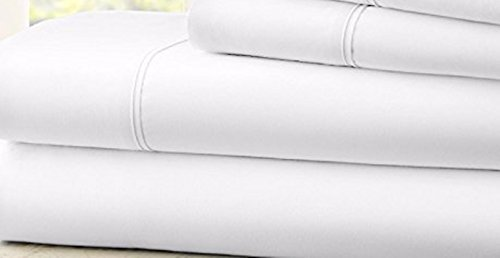 Hotel 1800 Comfort Count Deep Pocket 4 Piece Bed Sheet Set White Twin