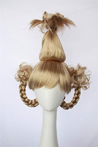 HangCosplay: Cindy Lou Who Wig Inspired of How the Grinch Stole Christmas! Braided Pigtails Prestyled Spiky Wig for Girls and Teens (Plantinum Blonde)]()