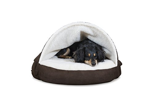Furhaven Pet Dog Bed | Memory Foam Round Faux Sheepskin Snuggery Burrow Pet Bed for Dogs & Cats, Espresso, 35-Inch by Furhaven Pet (Image #3)