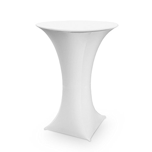 Bistro Table Legs (SpandexStretchTableclothTablecoverForCocktailTable,BistroTable,PoseurTableØ28-32inch,40-48 inch High,1Pack(4Legs)White)