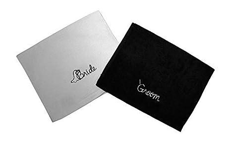 Buy Bride And Groom Embroidered Bathroom Hand Towel Set Wedding Gift