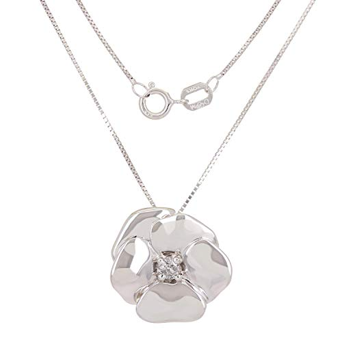 0.05 CTTW White Diamond 10 Karat White Gold Prong Setting Spring Ring Flower Pendant Necklace (H-I Color, I1-I2 Clarity)