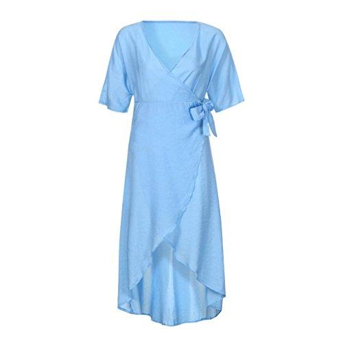Janly Boho Wrap Kleider für Frau Sommer Casual High Split Kleid Uni ...