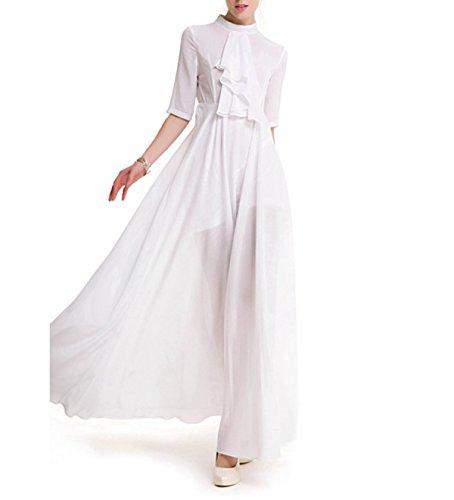Mujer Verano Color Sólido Soporte Del Collar Cinco De La Manga El Temperamento El Auto-cultivo Péndulo Grande La Sección De Largo Vestido White