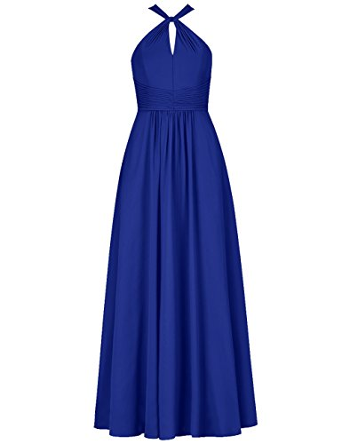 (Cdress Keyhole Bridesmaid Dresses Long Formal Evening Gowns Prom Dress for Wedding Party Chiffon US 30W RoyalBlue)