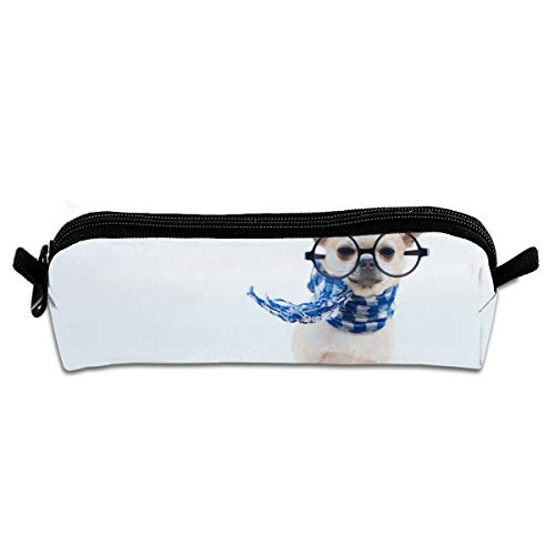 (FJSLIE Funny Chihuahua Glasses Scarf Oxford Storage Bags Portable Student Pencil Calico Office Stationery Bag Zipper Wallets Makeup Multi-Function Bag)