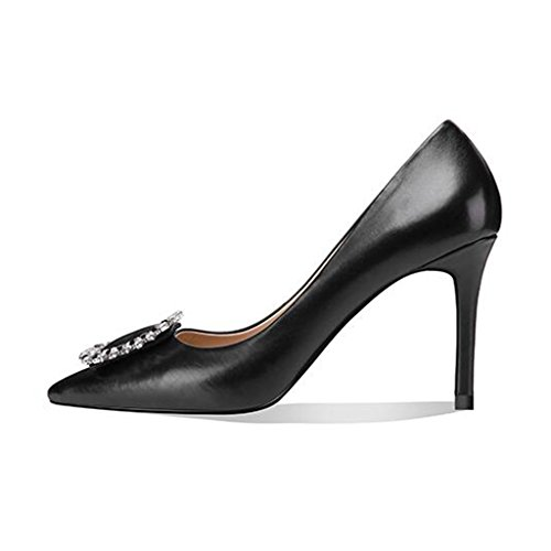 Quadrat Kopf weibliche MUMA Schuhe CN35 schwarze UK3 größe Schuhe mit fein EU36 Schuhe mit Mund Pumps Schnalle hohen Spitz 5 flachen Absätzen tqqEFvwC