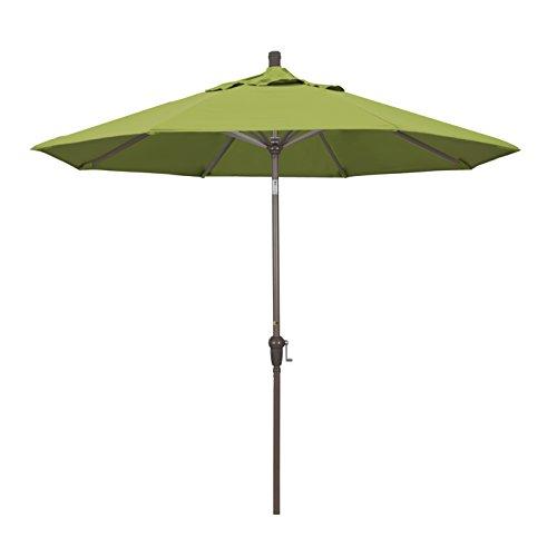5429 Sunbrella (California Umbrella 9' Round Aluminum Market Umbrella, Crank Lift, Auto Tilt, Champagne Pole, Sunbrella Macaw)