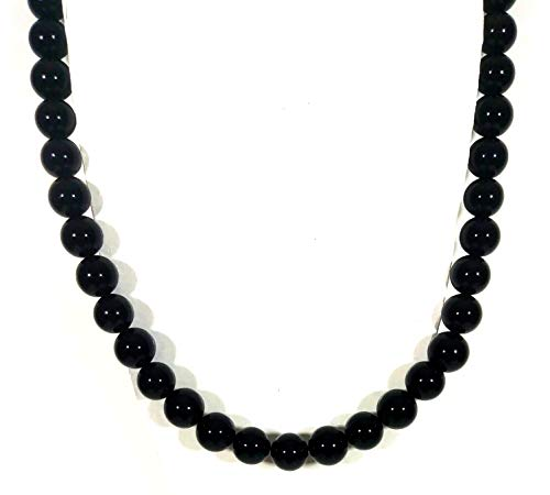 (Auras by Osiris - Onyx Beaded Necklace for Men - World Class Durability & Magnetic Clasp - Protection - Aura Shielding - Handmade in USA (Straight Onyx))