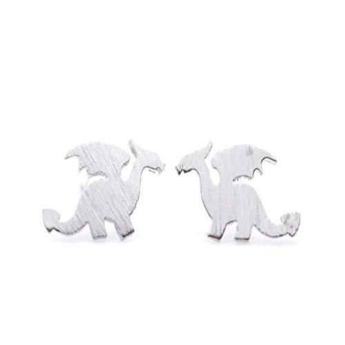 - Cute Tiny Dinosaur Stud Earrings Matte Jurassic Period Dragon Silhouette with Wings Earrings Women Animal Handmade Jewelry Teens Gifts (Silver)