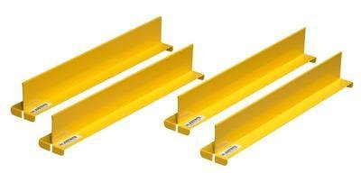 Justrite 29990 Shelf Dividers, 18in D, Yellow (Pack of 4)