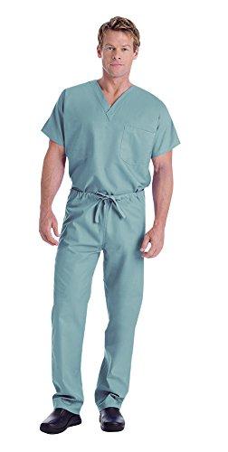 Reversible Solid Scrub (Landau Unisex V-Neck Scrub Top 7502 & Scrub Pant 7602 Medical Uniform Scrub Set (Misty - Small))