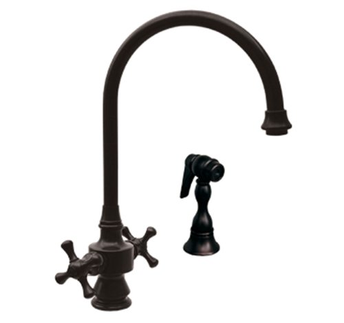 Whitehaus WHKSDCR3-8101-ACO Vintage-3 8 1/8-Inch Dual Handle Faucet with Long Gooseneck Swivel Spout, Cross Handles and Solid Brass Side Spray, Antique Copper (Aco Dual Handle Faucet)