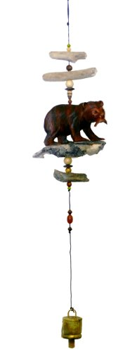 Cohasset Gifts 547 Wind Carved Bear w/Salmon Cohasset Bell, Hand Brown Mahogany Finish